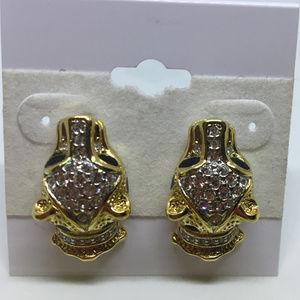 Attwood & Sawyer Leopard Crystal Earrings 1960s
